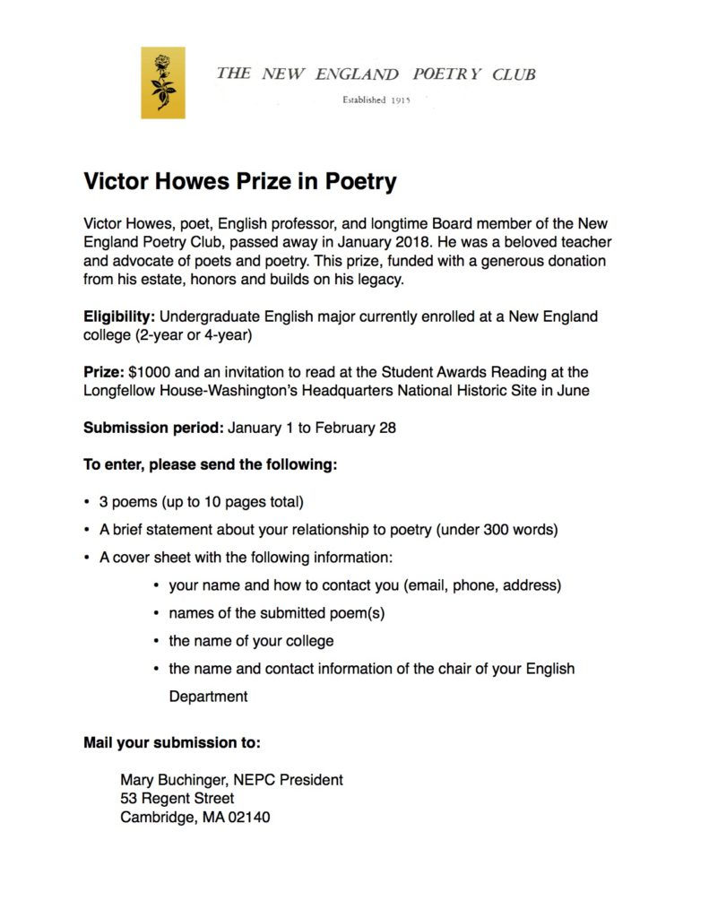 The Victor Howes Prize in Poetry   New England Poetry Club